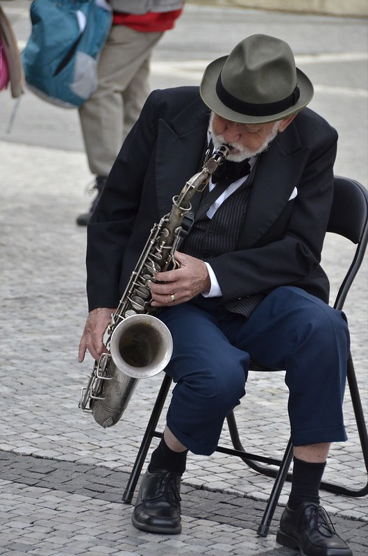 Man on trumpet in Prague